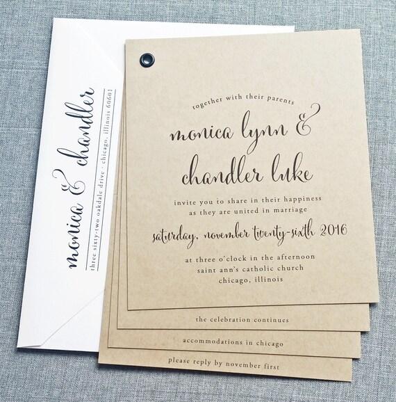 Monica Kraft Booklet Wedding Invitation Sample Black