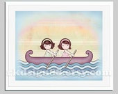 Happy nursery art girls - Row row your boat - Stronger  brown 8x10 - two sisters friends girls room sisterhood nursery art children decor