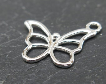 Sterling Silver Butterfly Charm 15mm (CG7752)