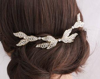 Crystal Leaf Wedding Comb Gold Bridal Hair Accessory Leaves Back Comb Rhinestone Leaves Veil Slide Back Hair Clip ELOISE