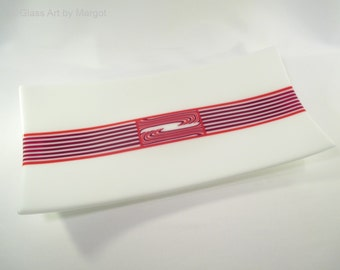 Fused Glass Plate Red Striped Flow Pattern Bar Tray