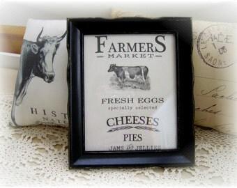 Farmhouse Vintage Wood Frame with  Fabric Cow Print ~ Fresh Eggs ~ Farmhouse Chic ~ Shabby Country ~ Vintage Wood Frame
