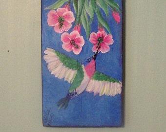 Hummingbird and Flowers Original Paining by the Artist