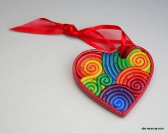 Mini Heart Christmas Ornament in Rainbow Polymer Clay Filigree (Red Border) Valentine's Day Gift