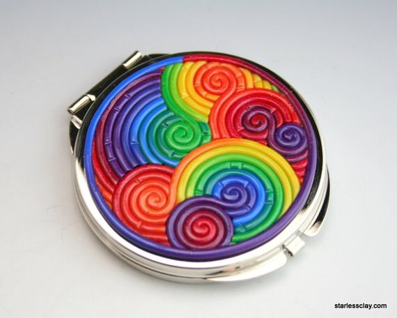 Rainbow Compact Mirror in Fimo Filigree