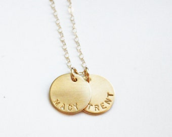 Personalized Gold Necklace, Personalized Necklace, Hand Stamped Jewelry, Gold Name Necklace, Two Names, Mothers Necklace