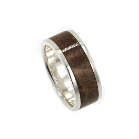 unique platinum wedding band with a kauri wood by
