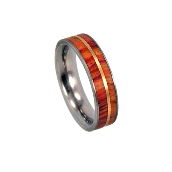 Tulip Wood Ring With A Rose Gold Pinstripe, Titanium Wedding Band For Women