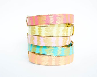 Metallic Gold Sketch Dog Collars - Colors in Turquoise, Pink, Yellow and Orange