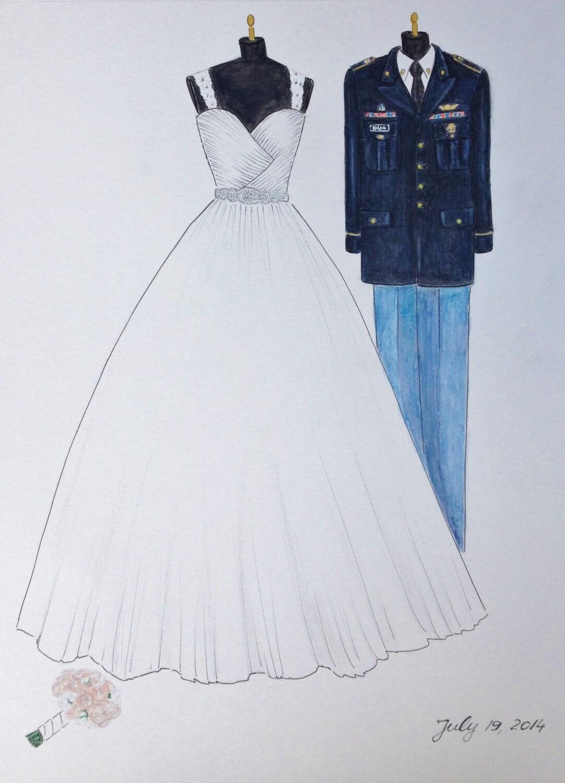 Custom wedding dress and uniform drawing bride and groom for Bridegroom dress for wedding