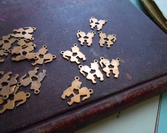 6 vintage boy and girl couple copper charms - vintage old new stock jewelry supplies