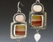 Royal Savannah Jasper and Rose Quartz Earrings, pink and brown earrings, rose quartz earrings, jasper earrings, boho, bohemian, silver