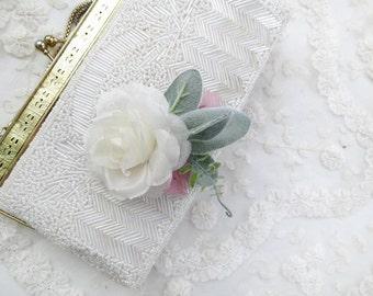 ivory flower hair clip, hair flowers wedding, bridal hair piece, wedding hair clip, floral hair comb, floral hair clip, ivory hairpiece