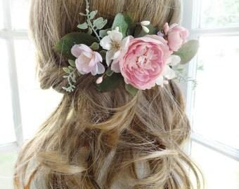 bridal hair comb, pink flower hair clip, wedding headpiece, bridal hairpiece, wedding hair clip, bridal hair vine, garden floral hair piece