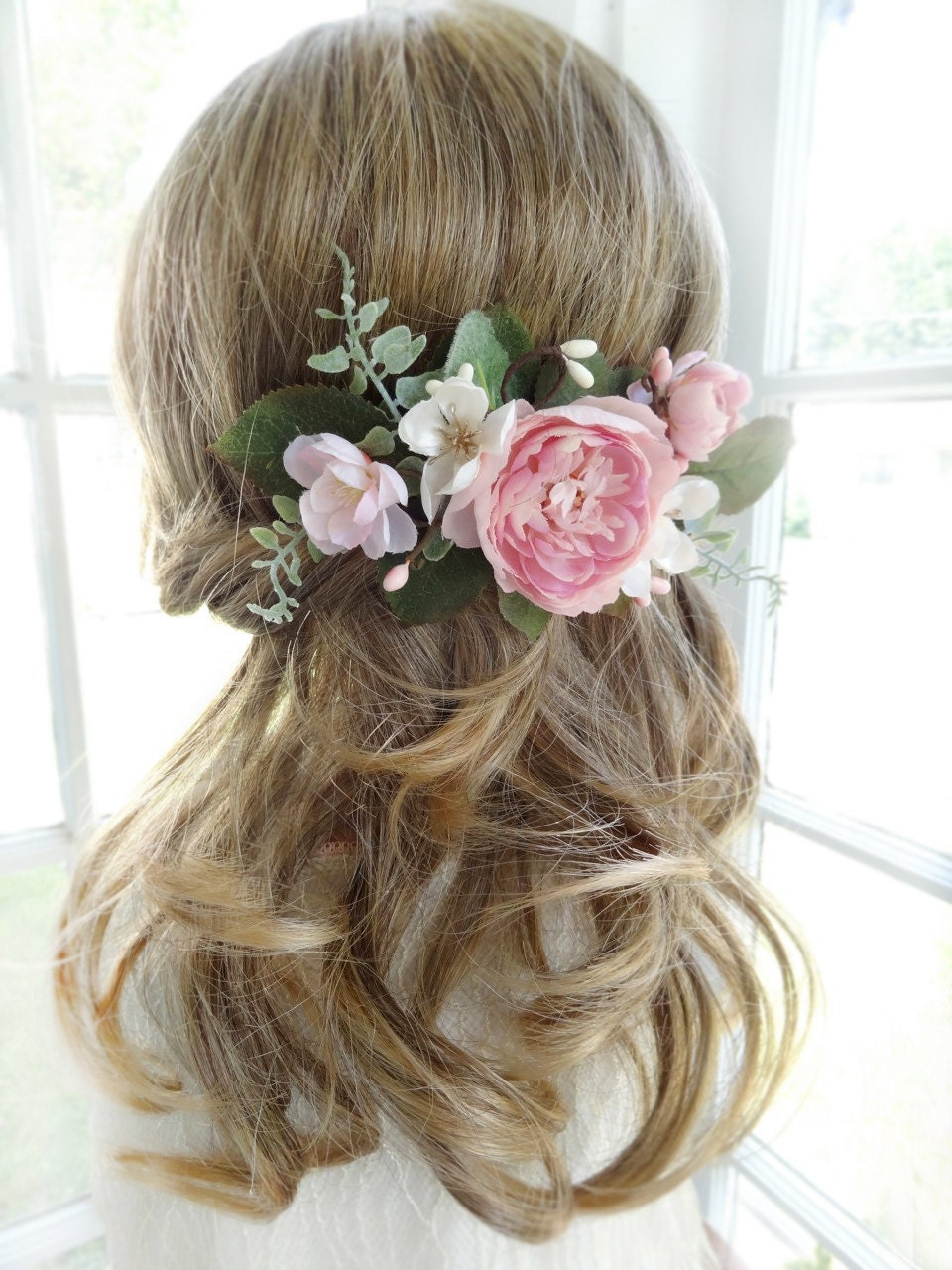 Wedding Hair Flowers Pink : Bridal hair comb pink flower clip wedding headpiece