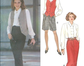 Butterick 6407 Misses' or Misses' Petite Vest, Shirt, Skirt & Shorts - Vintage PATTERN - Sizes 12, 14, 16