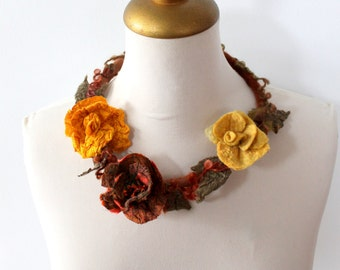 Felted  Flower Choker Rusty, Yellow and Mustard