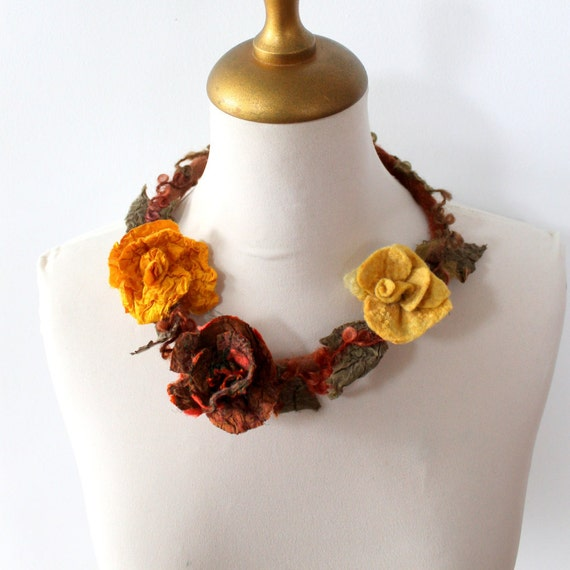 Felted  Flower Choker Rusty, Yellow and Mustard