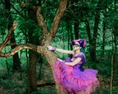 Two Toned Color Tulle Skirt- Adult Halloween Costume- Cheshire Cat Fairy Petticoat Fairytale- Custom to order