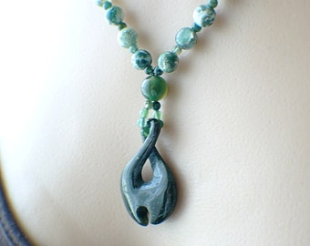 Carved jade infinity necklace green moss agate beads green gemstone necklace jade fishhook necklace 22 inch infinity jewelry
