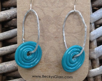 Turquoise Blue Teal Spiral Earrings on Pure Silver Loops