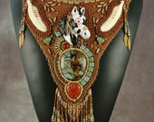 Bead embroidery, Beaded, necklace, horse, feathers, bone,  Polymer Clay, Turquoise and Red Jasper