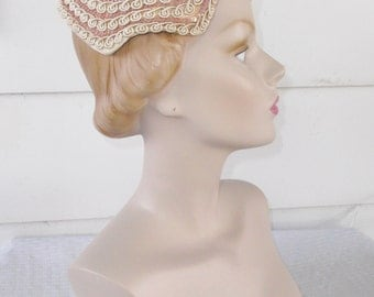1950s Vintage Pink Aurora Borealis Sequin and Braid Cocktail Hat