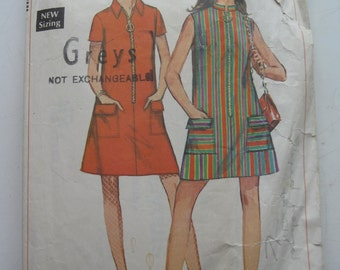 "1968 Dress - 32"" Bust - Simplicity 7602 - With some original 60s fabric -  Retro Vintage 1960s Sewing Pattern"