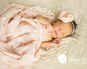 Silk Flower Headband, Baby Girl Headband, Baby Photo Prop, Hair Flower, Halo, Newborn Photo prop