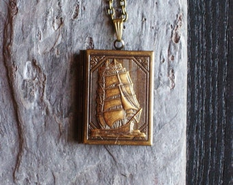 Sailboat book locket pendant necklace