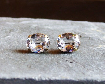 Crystal stud earrings, glass diamond post earrings, estate style earrings, bridal earrings, gift ideas for her, unique holiday gift