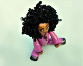 Paper Mache Doll Decor Accent Toy with Moveable Limbs: Curly Girl