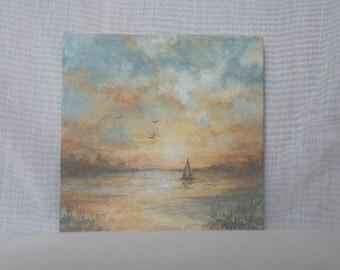 Sailing at Sunset/Tiny Mini Original Painting