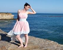 SALE Ivory Laser Cut Salmon and Sky Hi-Lo Hem Swing Dress