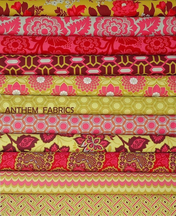 Joel Dewberry Heirloom fabric : fat quarter set of 11, Ruby Red palette
