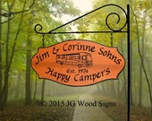 Personalized RV Camping Sign - RV - includes Round Garden Holder JG Wood Signs Etsy Campsite Name Sign  Carved Camp Sign