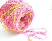 Hand Dyed Rayon Eyelash Fringe Yarn - Pink Daisy