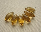 Golden Citrine Gemstone Briolettes Faceted Marquise Beads 12 - 13mm  - Six Beads