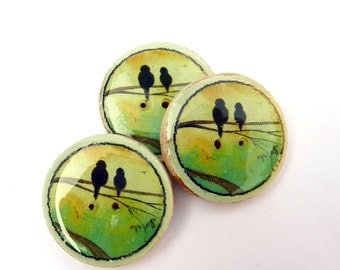 """3 Wooden Bird on a Branch Buttons.  1"""" or 25 mm."""