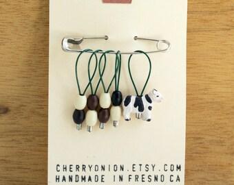 Milkshaker +++ Cow Knitting Stitch Markers, Snag Free Stitchmarkers, Fiber Art Tools