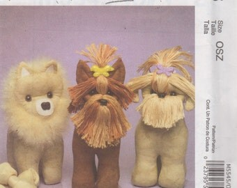 McCalls 5545 Parlor Pets Pattern Marilou Jorgensen Easy Toy Breeds Pups Dog Pattern Yorkshire Terrier Pomeranian Shih Tzu 10 Inches UNCUT