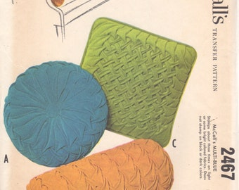 1960s McCalls 2467 Smocked Round Square and Bolster Pillow  Pattern Transfers UNCUT Vintage Home Decor Sewing Pattern