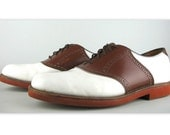 Vintage Walk-Over Saddle Oxford Shoes 10 D in brown and white leather