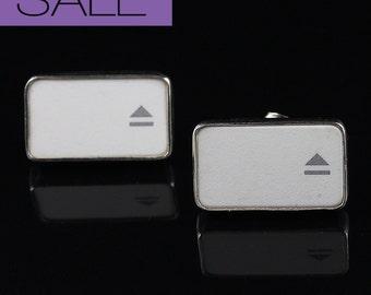 SALE - Computer Key Jewelry - rePURPOSED Apple MacBook Eject Key Sterling Silver Earring Studs