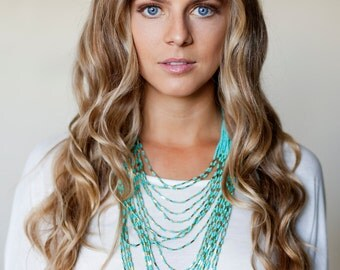 Turquoise bead multi strand necklace/ layer necklace