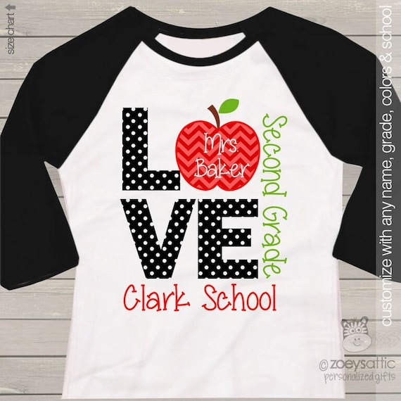 Teacher shirt love school personalized raglan shirt by for Custom school t shirts