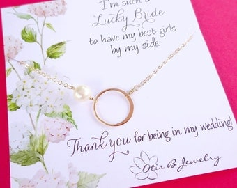 Be my Bridesmaid card with sterling silver eternity necklace, gold bridesmaid gifts, Bridesmaid pearl necklace, karma necklace,