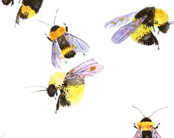 Bumble Bees Watercolor Painting, Original Art