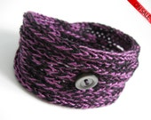 ON SALE Purple.....  Knitted Cord Bracelet -Funky Shades- 3 colors available