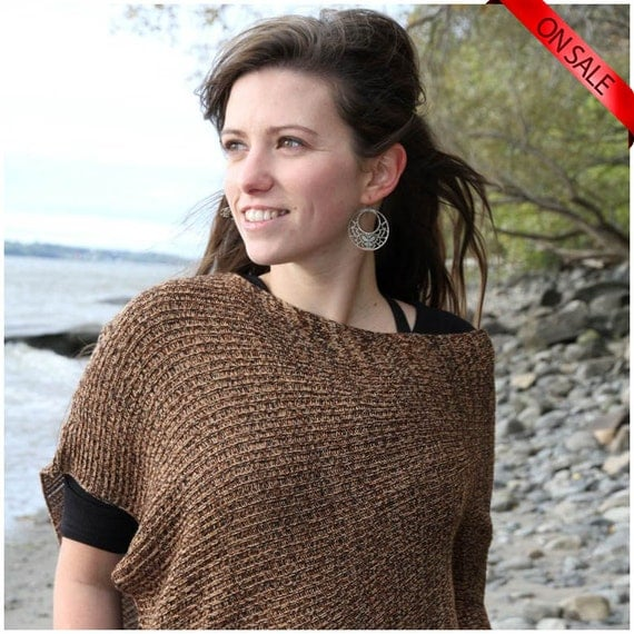 ON SALE EArTh sHadEs PoNcHo.....  Eco Friendly Fall Fashion Accessorie for women - Bamboo knitting shawl